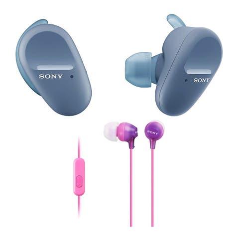 Sony WFSP800N Truly Wireless Sports In-Ear Headphones (Blue) Bundle