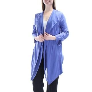 ANNE KLEIN $119 Womens New 1051 Purple Long Sleeve Trapeze Open Cardigan M B+B