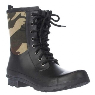 Chooka Cara Lace Up Mid Calf Rain Boots, Green Camo - 6 us / 36 eu