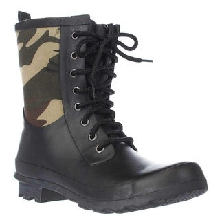Chooka Cara Lace Up Mid Calf Rain Boots, Green Camo