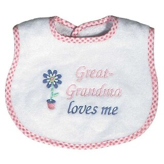 """Raindrops Baby Girls """"Great-Grandma Loves Me"""" Embroidered Bib, Pink - One size"""