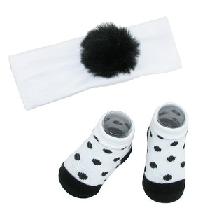 Rising Star Baby Girl's Faux Fur Pom Headband and Sock Set - One size