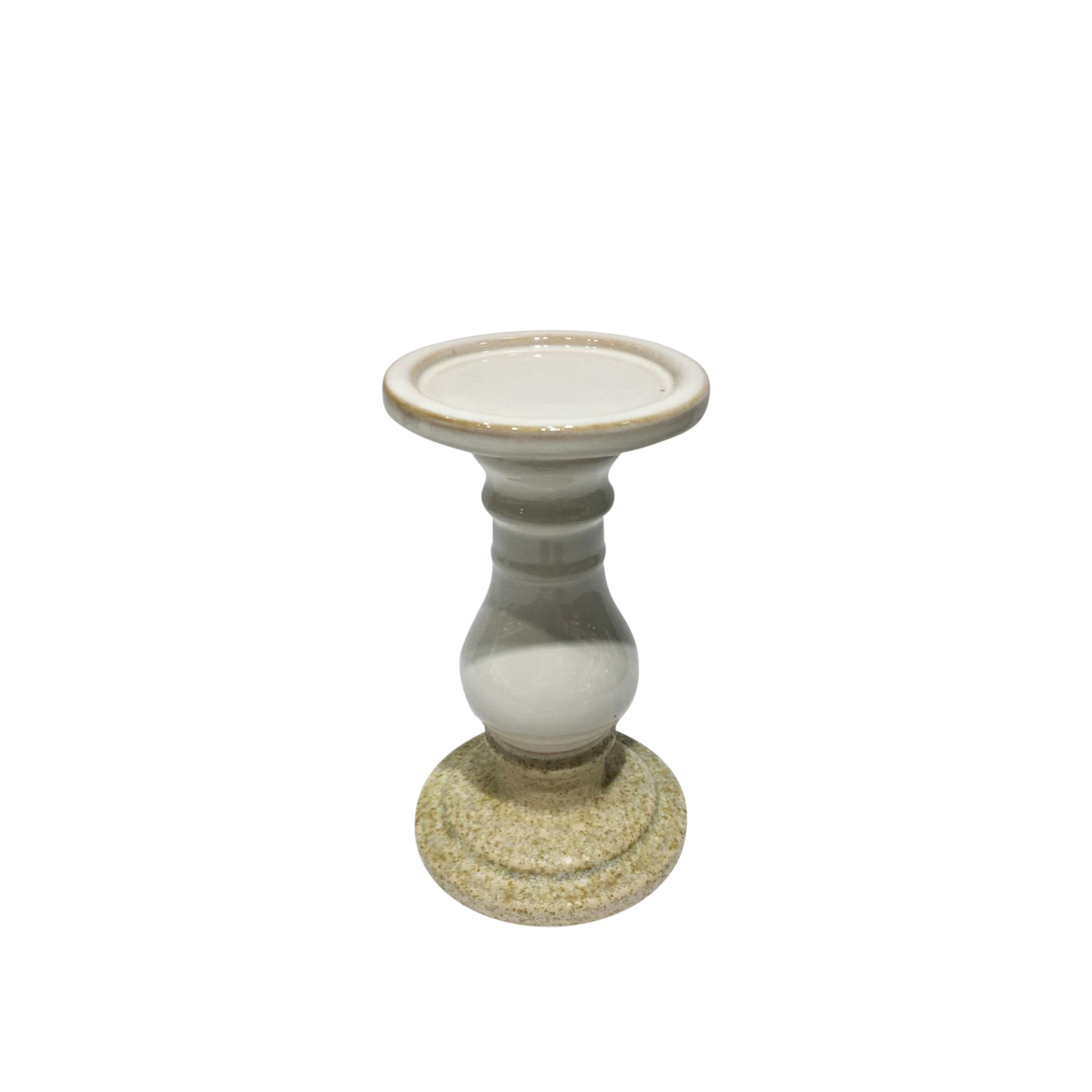 Two Tone Ceramic Candle Holder In Pedestal Shape, Small, White and Beige
