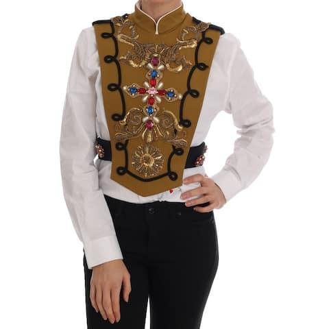Dolce & Gabbana Yellow Crystal Cross Vest Jacket