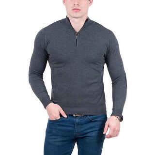 RC by HS Collection Anthracite Half Zip Fine Cashmere Blend Mens Sweater
