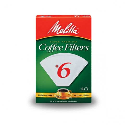 Melitta 626402 Cone Coffee Filters, White, #6, 40-Count
