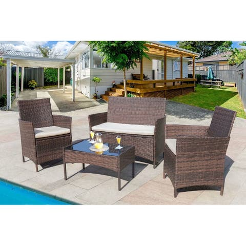 4 Pieces Patio Wicker Furniture Sets Outdoor Indoor Use chair Sets
