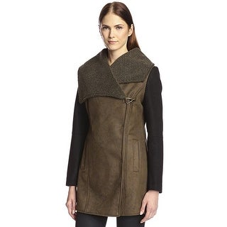 Sam Edelman Women's Large Claire Faux Suede Fur Shearling Olive Jacket