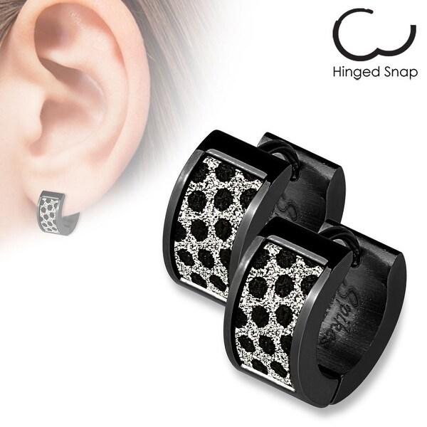 Pair of Black IP Square Black Dots Sand Sparkle Stainless Steel Hoop Earrings