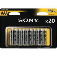 Sony R03Nub20A Heavy-Duty Carbon Zinc Aaa Batteries, 20 Pk