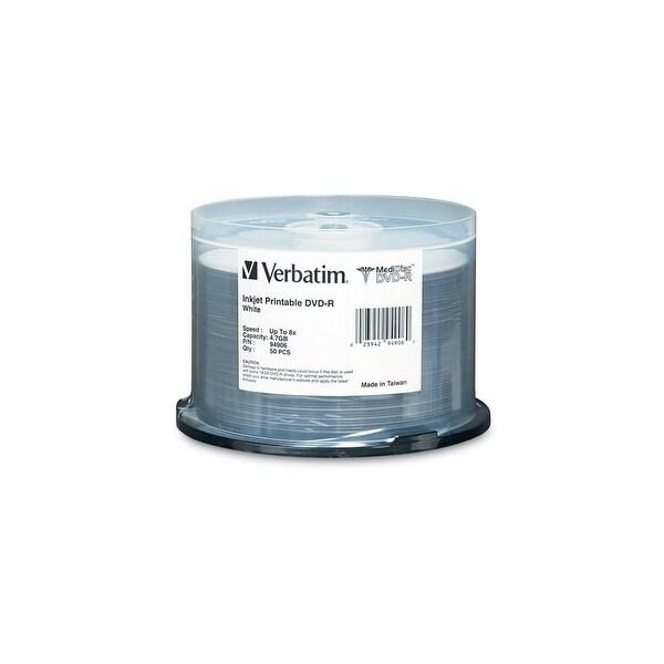 Verbatim E77242W Verbatim 4.7 GB 8X White Inkjet Printable MediDisc DVD-R 50 Disc Spindle
