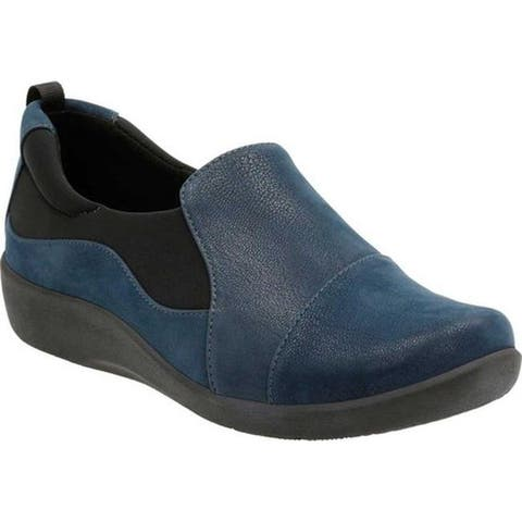 Clarks Women's Sillian Paz Slip-On Navy Synthetic Nubuck