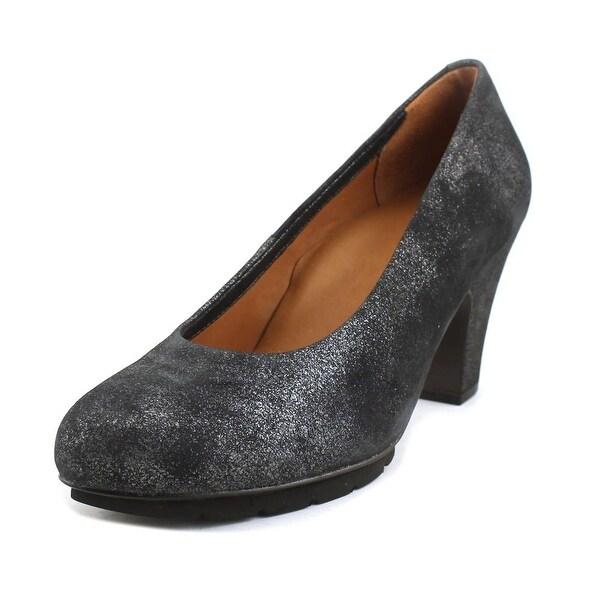 L'amour Fabienne Women Round Toe Suede Silver Heels