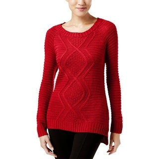 NY Collection Womens Pullover Sweater Cable Knit Solid