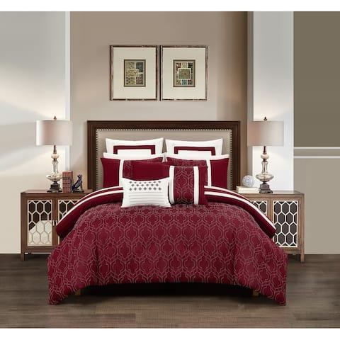 Chic Home Arlea 8 Piece Berry Jacquard Geometric Pattern Comforter Set