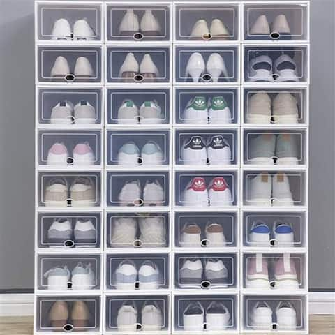 36 Pack Clear Plastic Stackable Shoe Storage Boxes White