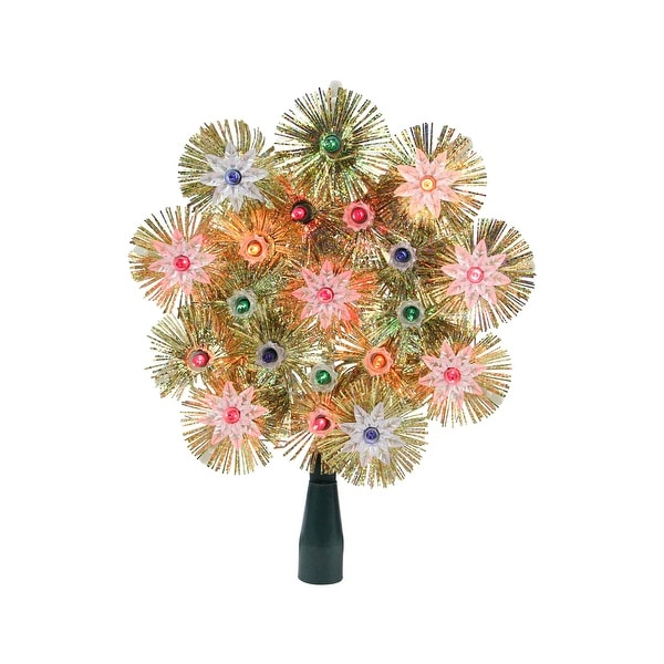 """8"""" Lighted Gold Retro Tinsel Snowflake Christmas Tree Topper - Multi Lights. Opens flyout."""