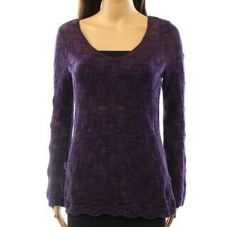 INC NEW Purple Jam Women's Size Medium M V-Neck Knit Shimmer Sweater