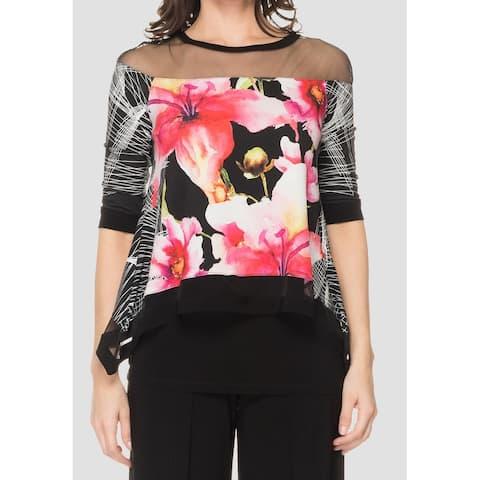 Joseph Ribkoff Womens Blouse Black Multi Size 4 UK 6 Mixed Print