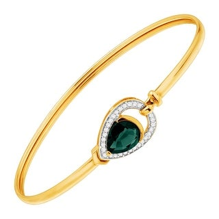 1 1/2 ct Created Emerald & 1/8 ct Diamond Bangle Bracelet in 10K Gold - Green