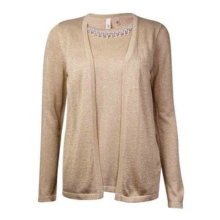 NY Collection Women's Faux 2PC Embellished Sweater - Dawn - xs
