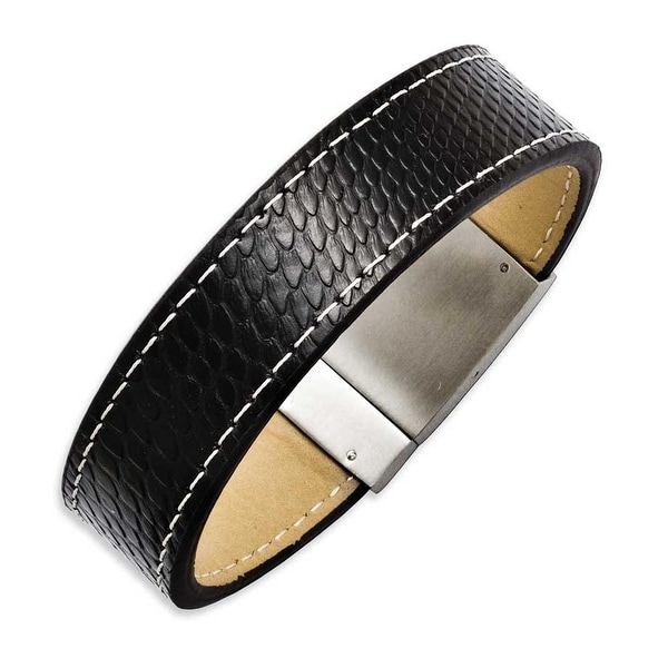 Chisel Stainless Steel Textured Black Leather 8.5in Bracelet
