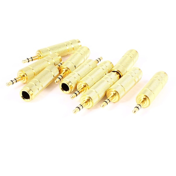 Unique Bargains Audio Stereo 6.35mm 1/4 Female to 3.5mm 1/8 Male Adapter Gold Tone 10 Pcs