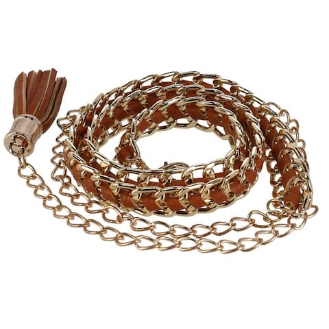 CTM® Women's Metal and Faux Leather Chain Belt with Tassel - one size