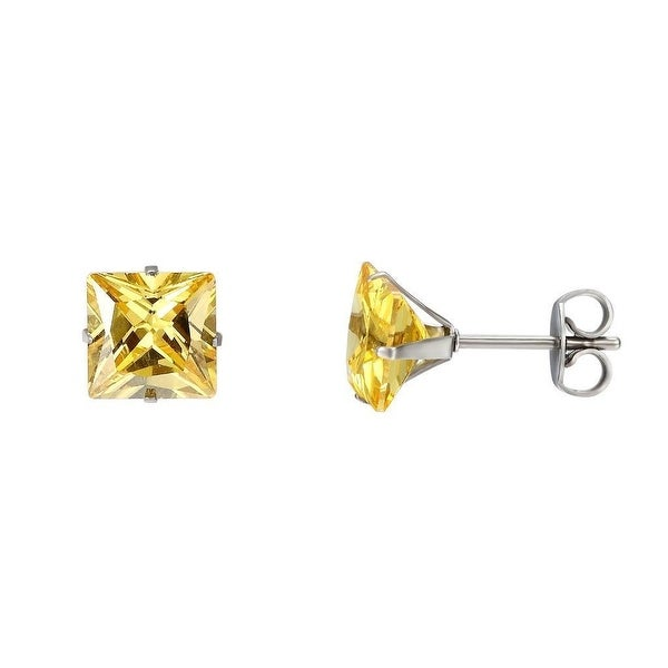 Princess Cut Yellow Earrings 8mm Solitaire Stainless Steel Cubic Zirconia Studs