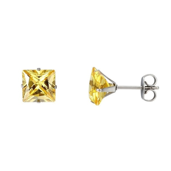 Stainless Steel Mens Earrings Yellow Solitaire Cubic Zirconia Studs 7mm Unisex