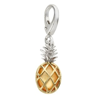 Natural Mother-of-Pearl Pineapple Charm in Sterling Silver and 14K Gold - YELLOW