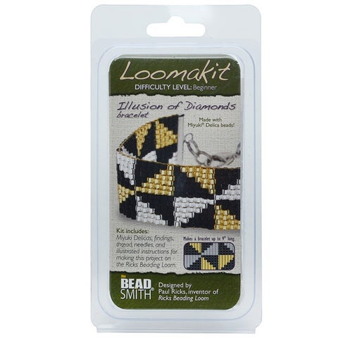 BeadSmith Loomakits, DIY Kit For Ricks Beading Loom, Illusion Of Diamonds Bracelet