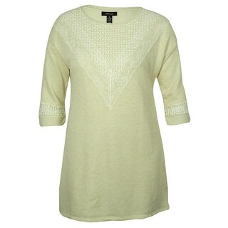 Style & Co Women's Lace-Trim Tunic Sweater - Oatmeal Heather