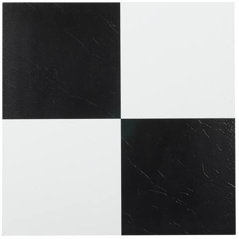 Achim Sterling Black White 12x12 Vinyl Floor Tile (20 Tiles/20 sq ft)