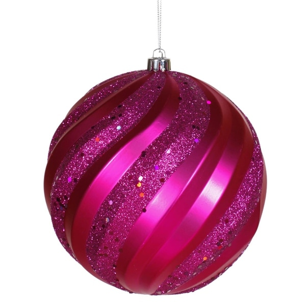 "Cerise Pink Glitter Swirl Shatterproof Christmas Ball Ornament 6"" (150mm)"