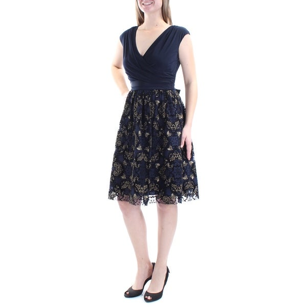 Shop SLNY Womens Navy Lace Metallic Cap Sleeve V Neck Above The Knee Fit +  Flare Cocktail Dress Size  6 - Free Shipping On Orders Over  45 -  Overstock.com - ... 307275c56263