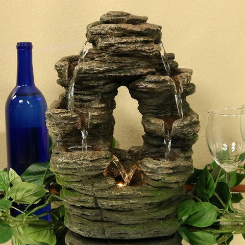 Sunnydaze Split Mossy Rock Falls Tabletop Water Fountain with LED - 14-Inch