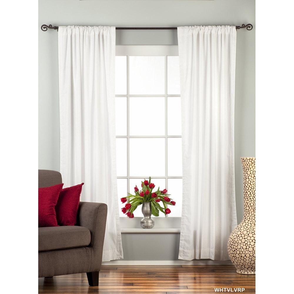 White Rod Pocket Velvet Curtain / Drape / Panel - Piece. Opens flyout.