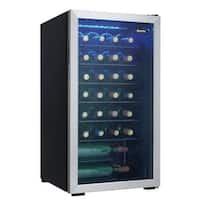 """Danby DWC93 18"""" Wide 36 Bottle Capacity Free Standing Wine Cooler with LED Showcase Lighting and Black Wire Shelving"""