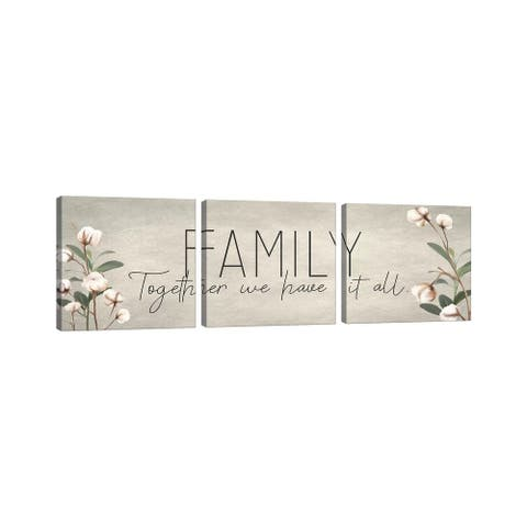 """iCanvas """"Family Together Cotton"""" by Kimberly Allen 3-Piece Canvas Wall Art Set"""