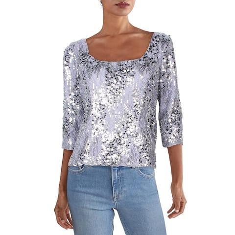 Alex Evenings Womens Petites Blouse Lace Sequined - Lavender