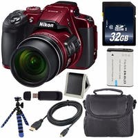 Nikon COOLPIX B700 Digital Camera (Red) International Model + EN-EL23 Replacement Li-on Battery + 32GB SDHC Card Bundle