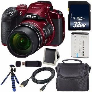 Nikon COOLPIX B700 Digital Camera (Red) International Model + EN-EL23 Replacement Li-on Battery + 32GB SDHC Card Bundle