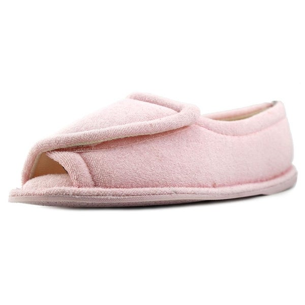 FootSmart Terry Open-Toe Slippers Women WW Open-Toe Canvas Pink Slipper