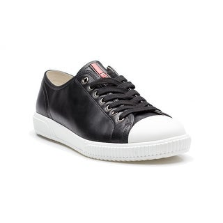 Prada Men's Flat Lace Up Calf Leather Sneaker Shoes Black