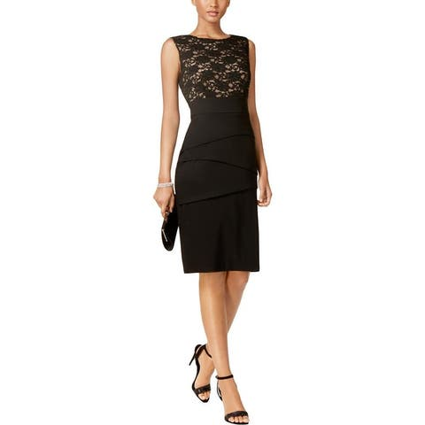 Connected Apparel Womens Cocktail Dress Sequined Lace