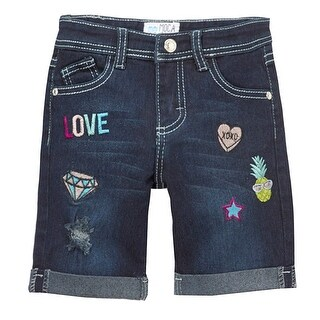 Mini Moca Girls Dark Blue Denim Embroidery Detail Bermuda Shorts (4 options available)