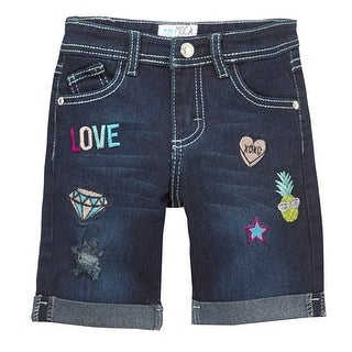 Mini Moca Little Girls Dark Blue Denim Embroidery Detail Bermuda Shorts (4 options available)