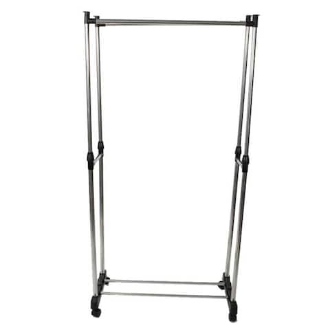 Dual-bar Vertically-stretching Stand Clothes Rack with Shoe Shelf - 8' x 11'
