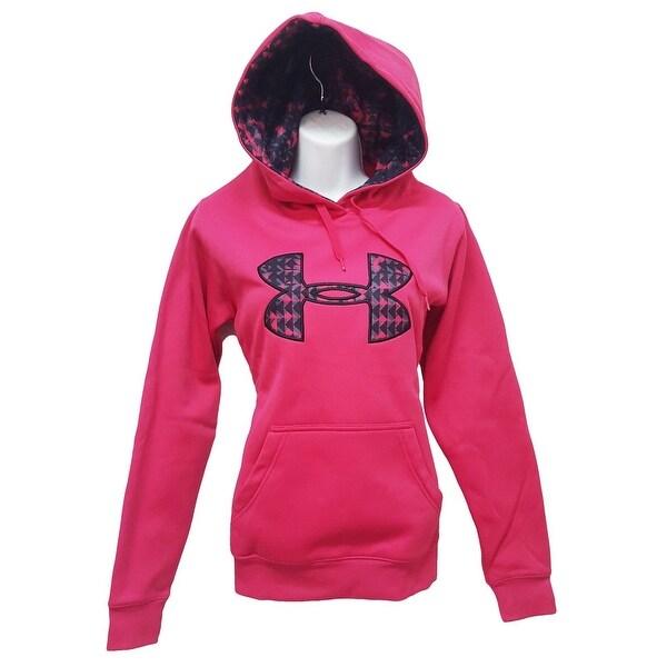 Women  x27 s Under Armour 1221640 ColdGear Fleece Big Logo Hoodie Pink ... 1ff82df379